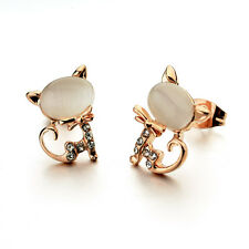 GORGEOUS 18K ROSE GOLD PLATED WHITE GENUINE AUSTRIAN CRYSTAL PUSSY CAT EARRINGS
