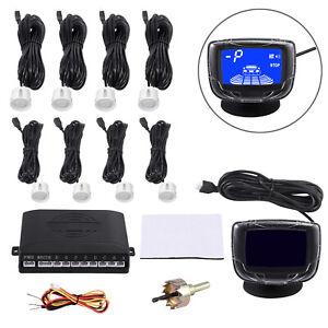 Car Reverse Parking 8 Sensors Buzzer Alarm Reversing Kit Front Rear LCD Display