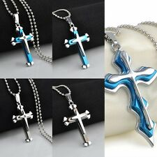 Fashion Unisex's Men Stainless Steel Cross Crystal Pendant Necklace Gift New