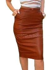 Fashion Women PU Leather High Waist Pencil Bodycon Midi Skirt Party Winter Dress
