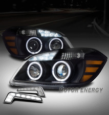 FOR 05-10 CHEVY COBALT/07-09 G5 HALO LED BLACK PROJECTOR HEADLIGHT LAMP +DRL KIT