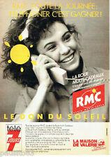 PUBLICITE ADVERTISING 096  1990   Radio RMC   le don du Soleil la Maison de Valé