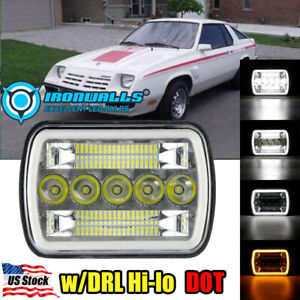 """5x7"""" 7x6 inch LED Headlight Hi/Lo DRL Beam Fit for Dodge Charger 1981-1993"""