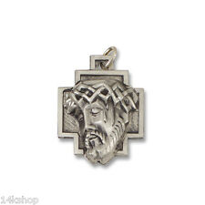 Sterling Silver Antiqued Christ Head Crown of Thorns Face of Jesus Charm Pendant