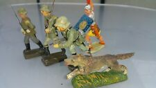 VINTAGE ELASTOLIN LINEOL LOT SET GERMAN TOYS SOLDIERS DOG FIGURINE MEDIEVAL ROME