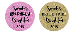 Hen Party Glitter Effect personalised 24x40mm round stickers favour box/bags/
