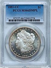 1881-CC MORGAN DOLLAR $1 PCGS MS66 DPL DMPL DEEP MIRROR PROOFLIKE, PG = $8,750!