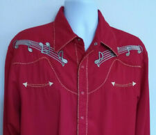 Scully Red Pearl Snap Music Note Embroidered Western Shirt Mens Size M
