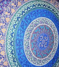 Beautiful Colourful Indian Barhmeri Circle of Flowers Print Large Throw Navy(N1)