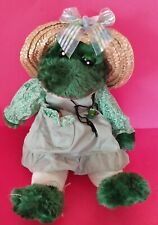 Adorable Plush Fabric Frog Doll Wearing Green Dress & Straw Hat