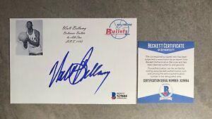 Walt Bellamy Signed 4x6 Index Card Cut Beckett BAS COA Knicks Hawks HOF Auto