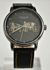 Coach Women's Grand Black Case & Black Leather Strap 14502974 Watch NWT