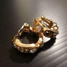 Boucles oreille plaqué or saphir blanc bijou orfèvrerie art déco femme N4509