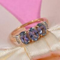 Very Rare Peacock Tanzanite Trilogy & Baguette Diamond 9K Y Gold Ring Size R/8.5