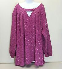 Roamans 5X Shirt Top Blouse Pink Leopard Spots NWOT NEW Plus Size Animal Print