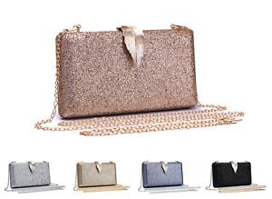 Women Sparkling Glitter Leaf Clasp Wedding Prom Party Bag Evening Clutch Handbag