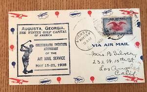 1938 FIRST NATIONAL AIR MAIL WEEK 20th Anniversary AIRMAIL FDC  Augusta Georgia