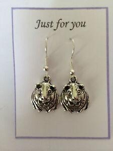 Guinea Pig Hamster Earrings Silver plated hook Animal birthday Gift Present
