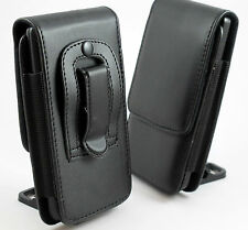 Black Vertical Leather Slimline Belt Clip Pouch Case Cover Holder Various PHONES Sony Xperia C3 C4