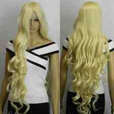 New Light Blonde 100cm Extra Long Wavy women Wigs