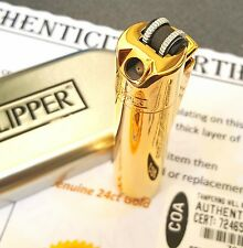 24ct Gold Plated Metal Pipe Clipper Lighter 24k Flint Gas Gift Box Refillable