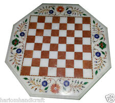 2'x2' Marble Side Coffee Chess Table Top Inlaid Mosaic Floral Kitchen Decor H967