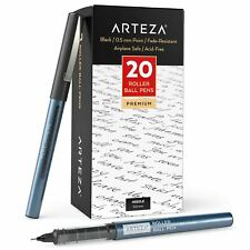 Arteza Black Roller Ball Pens, 0.5 mm Needle Point - Pack of 20