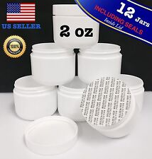 12 X 2 oz NEW Empty High Quality Plastic JAR Cosmetic Containers Including Seals