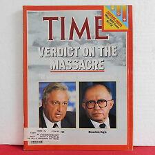 Verdict on the Massacre Time Magazine Minister Sharon Menachem February 21 1983!