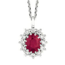 3.50 Carat Natural Ruby and Diamond Necklace Pendant G SI 14K White Gold 18''