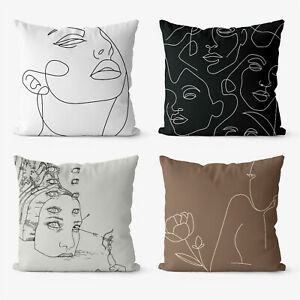 Abstract Line Drawing  4 Pieces Two Sides Printed Cushion Pillow Case Cover