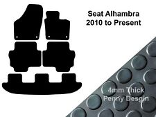 Seat Alhambra (2010 to DATE) Fully Tailored Black 4mm Thick Rubber Car Floor Mat