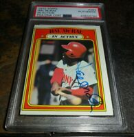 1972 IN ACTION SIGNED Topps #292 HAL McRAE CINCINNATI REDS PSA/DNA