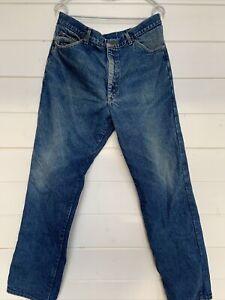 Mens LL Bean Vintage Red Flannel Lined Blue Denim jeans size 40x34