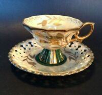 Royal Sealy Pedestal Cup And Reticulated Saucer - Green And Raised Gold - Japan