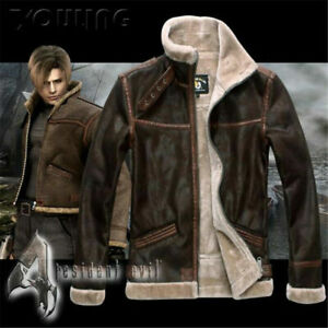 Resident 4 Leon Kennedy Shearling Evil Leather Jacket
