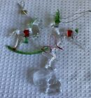 3 Glass Items Rocking Horse Reindeer Energizer Bunny Ornaments