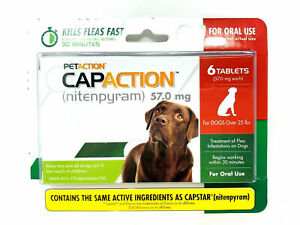 SEaled Genuine PetAction CapAction for Dogs over 25lbs Flea Treatment 6 Tablets