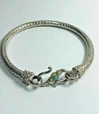 Sterling Silver Snake Charm Bracelet with S-Hook Clasp 8""