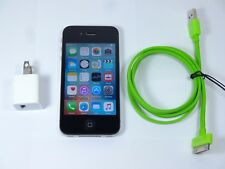 Apple iPhone 4s 8GB iOS Black AT&T A1387 CLEAN ESN w/ Charge Cable & Adapter