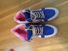 Women's Teen's Junior's Pink Blue Wedge Tennis Shoes Size:8 Lace Up Heels