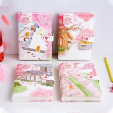 """Sakura Cat v3"" 1pc Faux Leather Journal Diary Cute Notebook Lined Papers Gift"