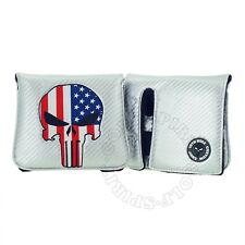 New US Flag Punisher Skull for Scotty Cameron Futura X, 6M Head Cover Silver, RH