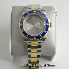 40mm Automatic Watch Case fit NH35A NH36A Two Tone Gold Oyster Strap Sapphire