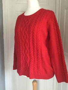 Joules Lambs Wool red cable Jumper Size 20