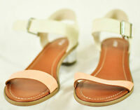 "women's APT.9 dress shoes size 7.5 ivory sandal style strap w/buckle 1-1/4"" heel"