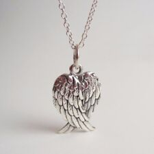 Vintage 925 Silver Plated Heart Angel Wing Charm Pendant Necklace Women Jewelry