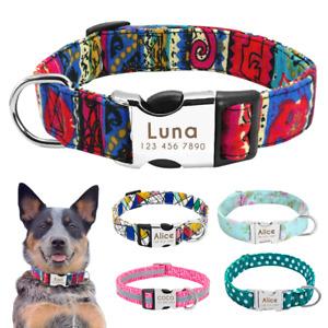 Personalised Adjustable Nylon Reflective Collar Dog Collar Engraved Nameplate
