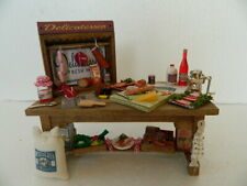 (KP2.28) 1/12th scale HANDMADE KITCHEN DELI TABLE WITH ACCESSORIES
