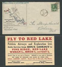 CANADA 1926 PATRICIA AIRWAYS cover - Red Lake, Sioux Lookout, Kitchener